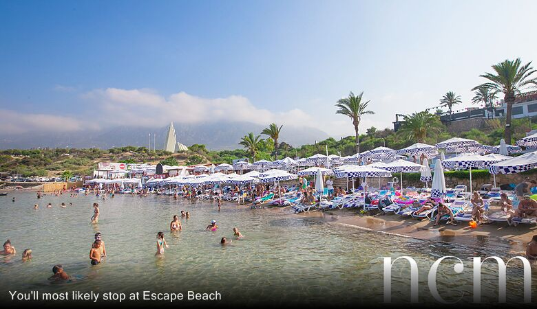 You'll most likely stop at Escape Beach