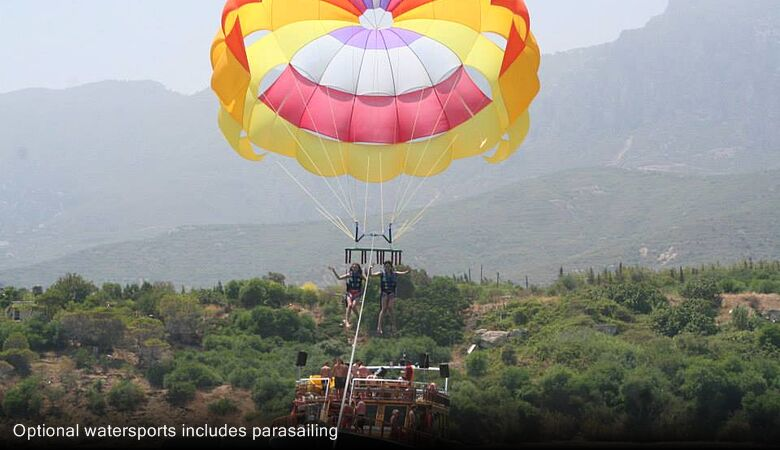 Optional watersports includes parasailing