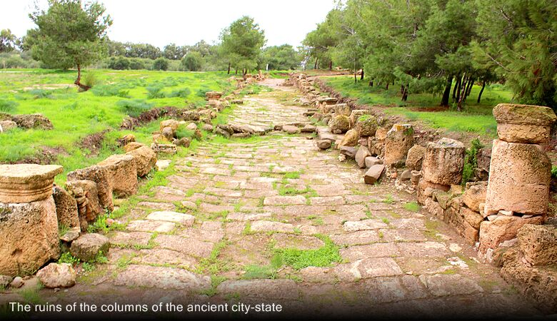 The ruins of the columns of the ancient city-state