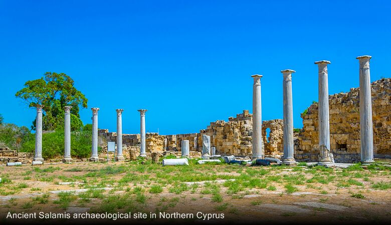 Ancient Salamis archaeological site in Northern Cyprus