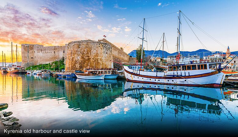Kyrenia old harbour and castle view