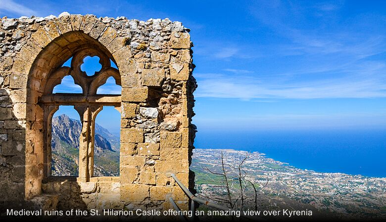 Medieval ruins of the St. Hilarion Castle offering an amazing view over Kyrenia