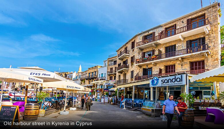 Old harbour street in Kyrenia in Cyprus
