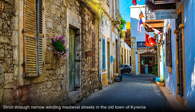 Stroll through narrow winding medieval streets in the old town of Kyrenia
