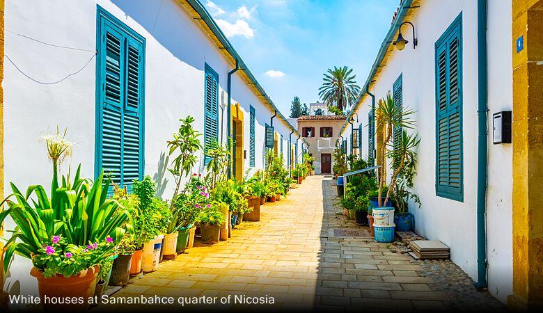 White houses at Samanbahce quarter of Nicosia
