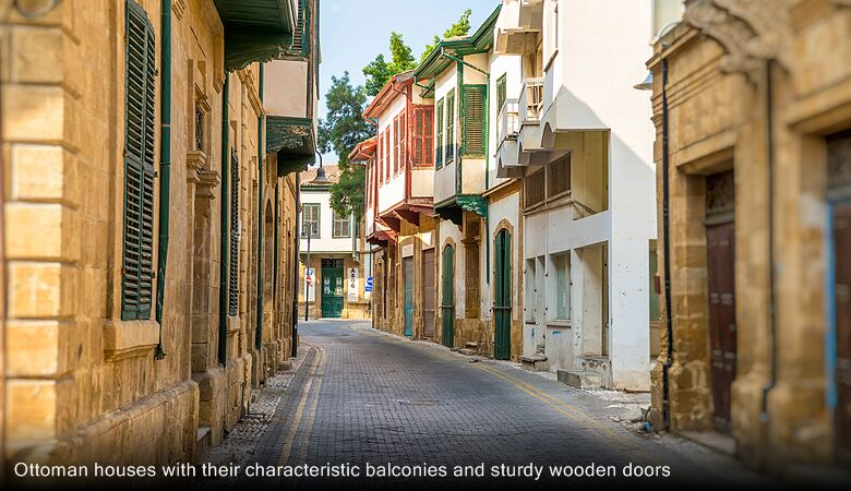 Ottoman houses with their characteristic balconies and sturdy wooden doors