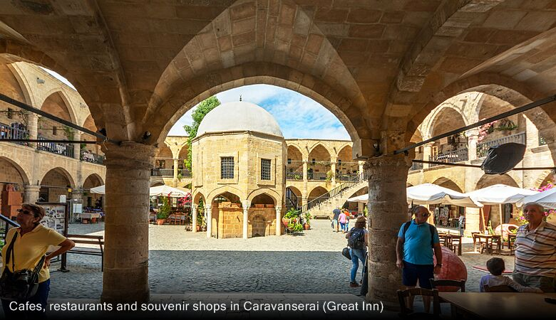 Cafes, restaurants and souvenir shops in Caravanserai (Great Inn)