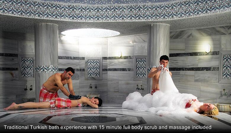 Traditional Turkish bath experience with 15 minute full body scrub and massage included
