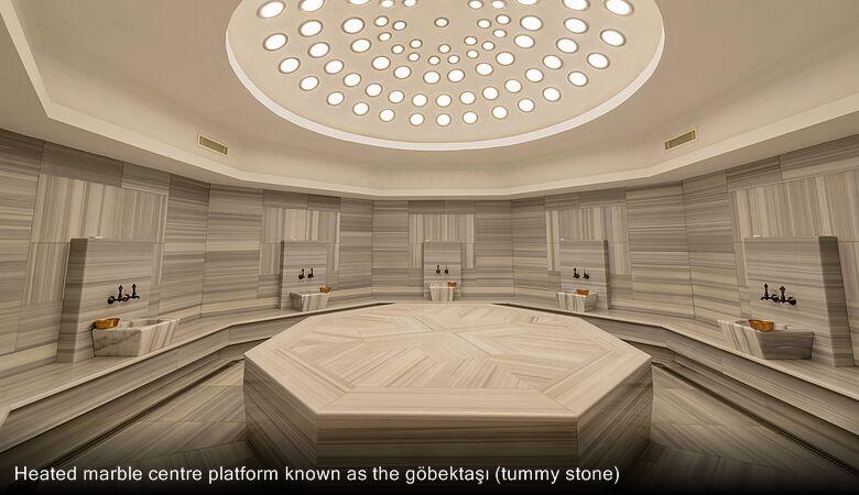 Heated marble centre platform known as the göbektaşı (tummy stone)